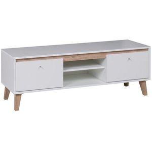 GIB Tv stolek OLIVERIO 135 bílý 135x46, 5x40 dub san remo světlý / bílá obraz