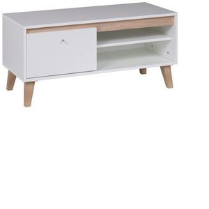 GIB Tv stolek OLIVERIO 100 bílý 100x46, 5x40 dub san remo světlý / bílá obraz