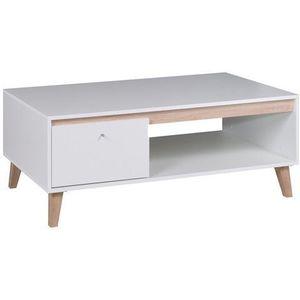 GIB Konferenční stolek OLIVERIO bílý 120x46, 5x65 dub san remo světlý / bílá obraz