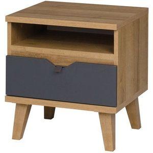 GIB Noční stolek MALMO, dub zlatý/bílá 45x48x40 dub zlatý / bílá / grafit obraz