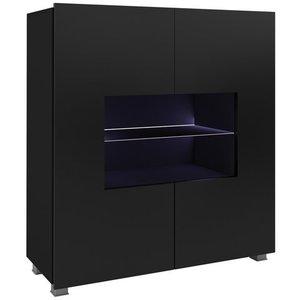 GIB Komoda Corinto LED, černá/černý lesk 100x107x35 Černá / černý lesk obraz