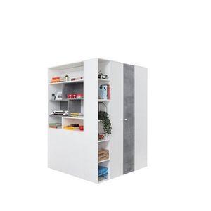 MEBLAR Rohová skřín STELA 1, bílá/šedá 135x190x135 bílá / šedá obraz