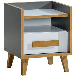 DOLMAR Noční stolek WINSOR 11, antracit/bílá/riviera 47, 3x42x57, 2 antracit / bílá / riviera obraz