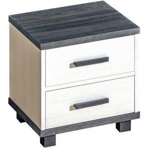 DOLMAR Noční stolek z masivu ASTON 10, borovice bílá/ořech 48, 6x40x51 borovice bílá / ořech obraz