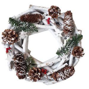 Bílý dřevěný vánoční věnec se šiškami - Ø 30*8 cm obraz