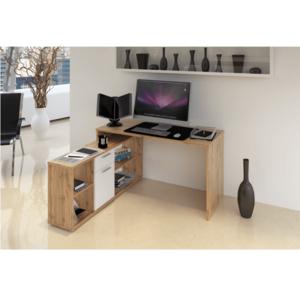 PC stůl, dub Wotan / bílá, NOE NEW obraz