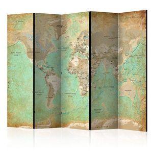 Paraván Turquoise World Map Dekorhome obraz