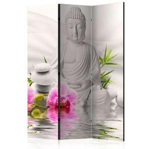 Paraván Buddha and Orchids Dekorhome 135x172 cm (3-dílný) obraz