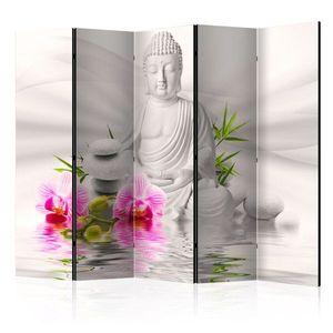 Paraván Buddha and Orchids Dekorhome 225x172 cm (5-dílný) obraz