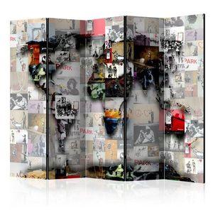 Paraván World map – Banksy Dekorhome obraz