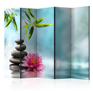 Paraván Water Lily and Zen Stones Dekorhome 225x172 cm (5-dílný) obraz