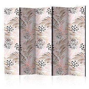 Paraván Pink Palm Leaves Dekorhome 225x172 cm (5-dílný) obraz
