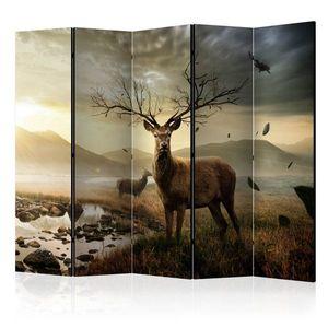 Paraván Deers by mountain stream Dekorhome 225x172 cm (5-dílný) obraz
