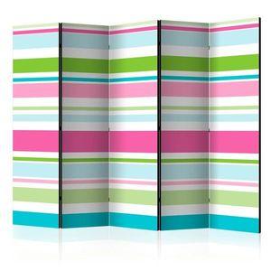 Paraván Bright stripes Dekorhome 225x172 cm (5-dílný) obraz