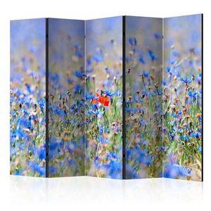 Paraván A sky-colored meadow - cornflowers Dekorhome 225x172 cm (5-dílný) obraz
