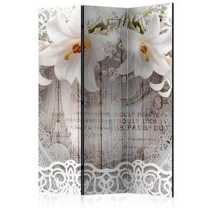 Paraván Lilies and Quilted Background Dekorhome 135x172 cm (3-dílný) obraz