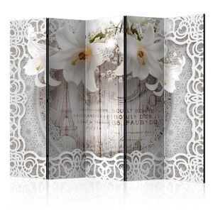 Paraván Lilies and Quilted Background Dekorhome 225x172 cm (5-dílný) obraz