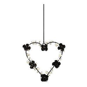 Závěsné černé kovové srdce s perličkami a růžemi - 13*2*13cm obraz