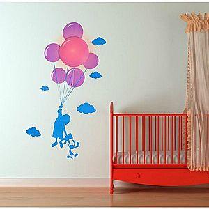 Samolepka a světlo na zeď - dítě s balonky obraz