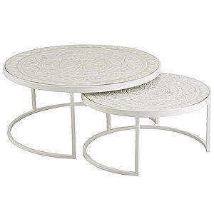 Set 2 bílých kovových stolků s dřevěnou deskou - Ø79*36 cm obraz
