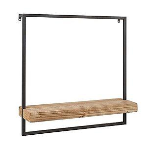 J-Line by Jolipa Černá nástěnná polička s dřevěnou poličkou Shelfi - 50*15*50cm obraz