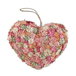 Závěsné jarní srdce se suchými květy - 16*5*14cm obraz