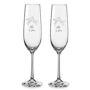 Svatební skleničky na sekt HRDLIČKY ORIGAMI, 2 ks obraz