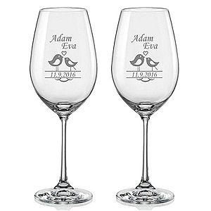 Svatební skleničky na víno Ptáčci, 2 ks obraz