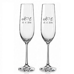 Svatební skleničky na sekt Monogramy se srdíčky, 2 ks obraz