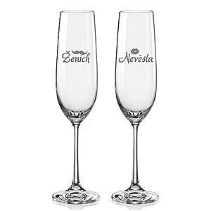 Svatební skleničky na sekt Ženich a Nevěsta s datem svatby na dýnku, 2 ks obraz