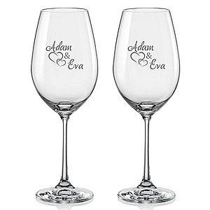 Svatební skleničky na víno Spojená srdce s datem svatby na dýnku, 2 ks obraz