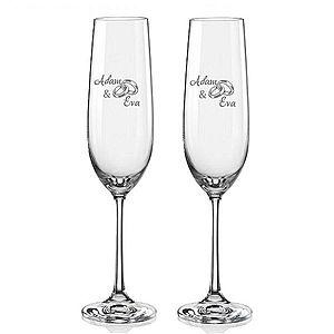 Svatební skleničky na sekt Prstýnky s datem svatby na dýnku, 2 ks obraz