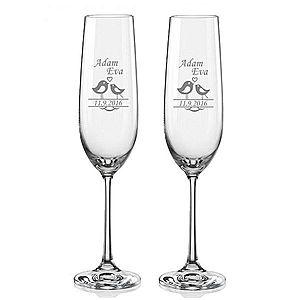 Svatební skleničky na sekt Ptáčci, 2 ks obraz