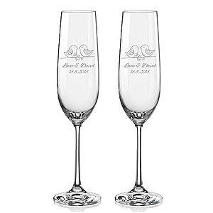 Svatební skleničky na sekt Ptačí souznění, 2 ks obraz