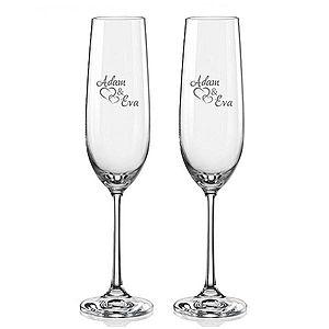 Svatební skleničky na sekt Spojená srdce s datem svatby na dýnku, 2 ks obraz