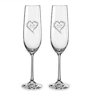Svatební skleničky na sekt Srdce z větviček, 2 ks obraz