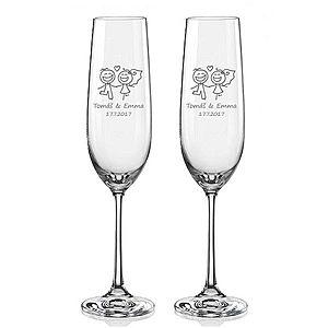 Svatební skleničky na sekt Veselí novomanželé, 2 ks obraz