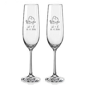 Svatební skleničky na sekt ZAMILOVANÉ HRDLIČKY, 2 ks obraz