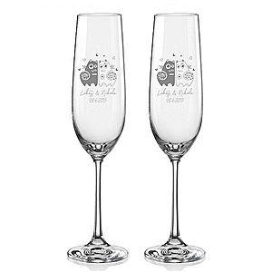 Svatební skleničky na sekt Zamilované kočky, 2 ks obraz