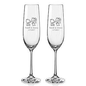 Svatební skleničky na sekt Zamilovaní novomanželé, 2 ks obraz