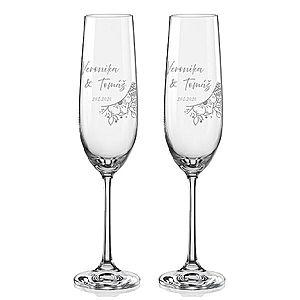 Svatební skleničky na sekt Svatební kytice, 2 ks obraz