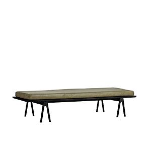 """Lavice """"Level"""", 8 variant - Woud Varianta: tmavý dub, mechově zelená kožená matrace obraz"""