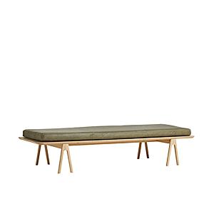 """Lavice """"Level"""", 8 variant - Woud Varianta: světlý dub, mechově zelená kožená matrace obraz"""