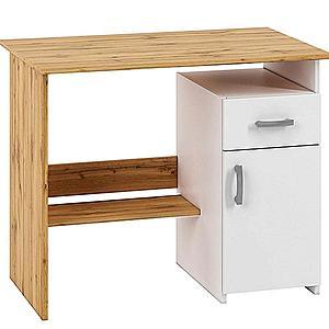 Psací stůl Miu01 dub wotan/bílý obraz