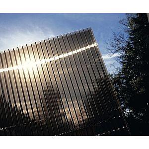 Hliníková pergola 3, 12 x 3 m antracit / polykarbonát Dekorhome Kouřově hnědá (bronz) obraz