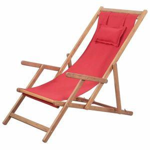 Skládací plážové lehátko, červené obraz