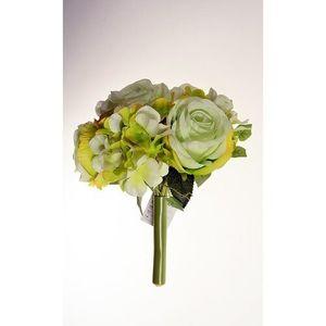 Umělá kytice Růže s hortenzií zelená, 26 cm obraz