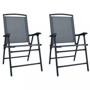 Skládací zahradní židle 2 ks Dekorhome Šedá obraz