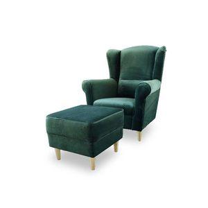 Křeslo s taburetem ASTRID Tempo Kondela Smaragdová obraz