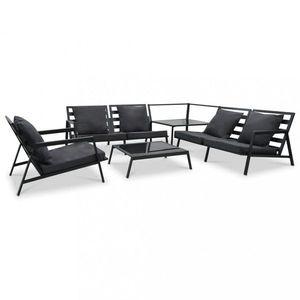 Zahradní sedací souprava 5ks černá / tmavě šedá Dekorhome obraz